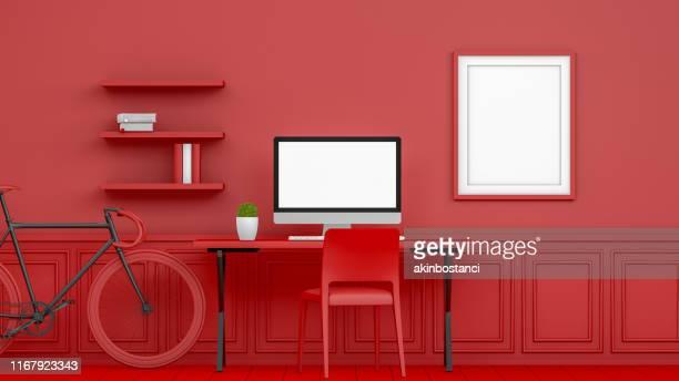 local de trabalho 3d abstrato com o monitor em branco da tela no interior moderno, conceito do natal, fundo vermelho - tridimensional - fotografias e filmes do acervo