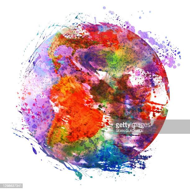 abstract world illustration - world map stock pictures, royalty-free photos & images