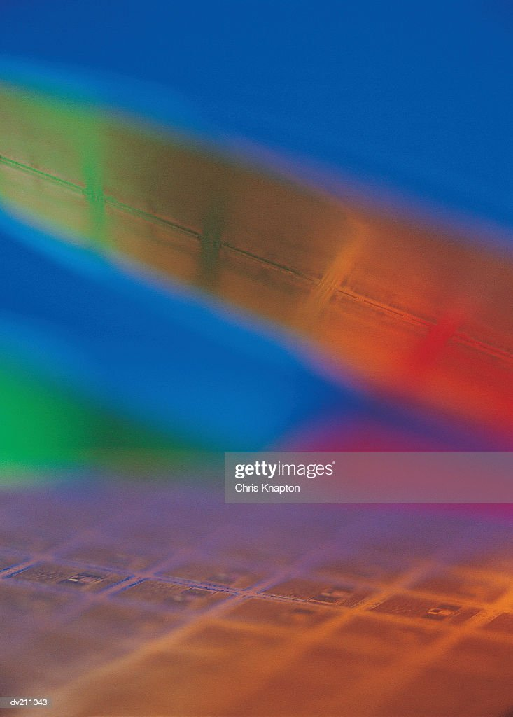 Abstraction of red, green and gold wafer-chips : Stock Photo