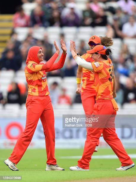Abtaha Maqsood of the Birmingham Phoenix celebrates with team mates after dismissing Sammy-Jo Johnson of the Trent Rockets during The Hundred match...