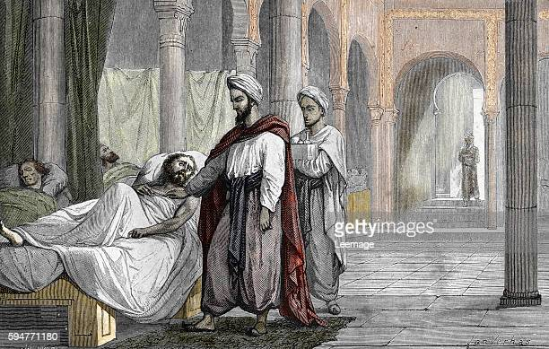 Abu alQasim alZahrawi Arab Muslim physician and surgeon in the hospital of Cordoba AlAndalus Engraving from Laviedessavantsillustres by Louis Figuier...