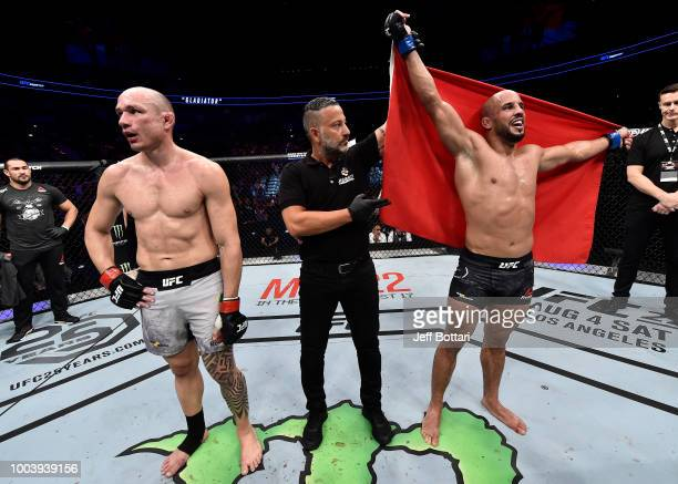 Abu Azaitar of Germany celebrates after his decision victory over Vitor Miranda of Brazil in their middleweight bout during the UFC Fight Night at...