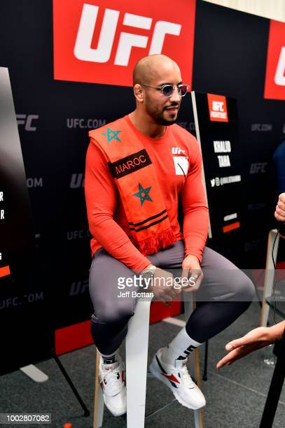 Abu Azaitar of Germany interacts with media during the UFC Fight Night Ultimate Media Day event at the Radisson Blu Hotel on July 20 2018 in Hamburg...