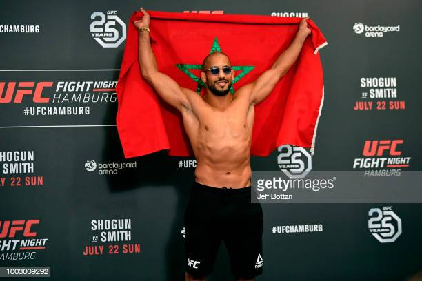 Abu Azaitar of Germany poses for the media during the UFC Fight Night Weighin event at the Radisson Blu Hotel on July 21 2018 in Hamburg Germany