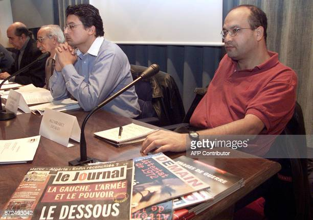 Abu Bakr Jamai director of Moroccan weeklies 'AsSahifa' and 'Le Journal' and Ali Mrabet director of the Moroccan weekly 'Demain' give a press...