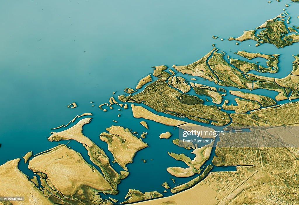 Abu Dhabi 3D Landscape View South-North Natural Color : Stock-Foto