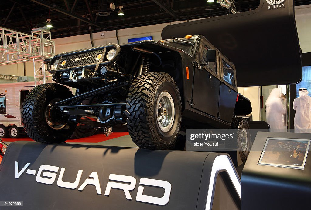 GUARD ,Abu Dhabi based Alanqa Motor Company makes the first motor show appearance of its vehicle lineup at the 10th annual Dubai International Motor Show on December 20, 2009 in Dubai, United Arab Emirates.