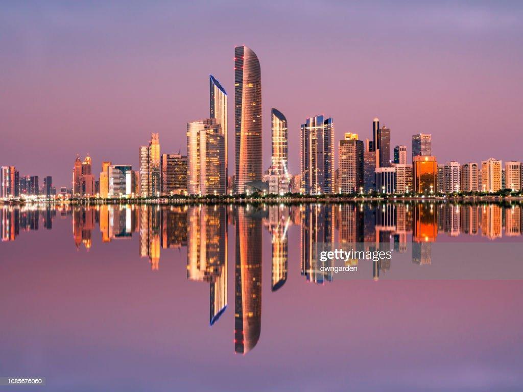 Abu Dhabi City Skyline at Twilight, United Arab Emirates : Stock Photo