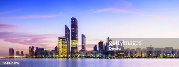 Abu Dhabi City Skyline at Twilight, United Arab Emirates