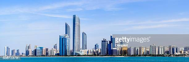 abu dhabi city skyline united arab emirates - abu dhabi stock pictures, royalty-free photos & images