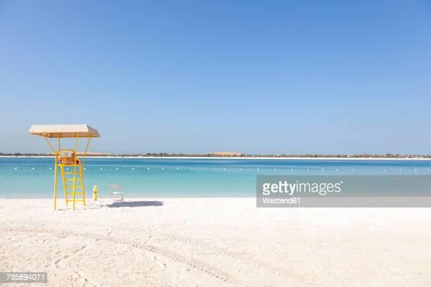 UAE, Abu Dhabi, Corniche, lifeguard tower