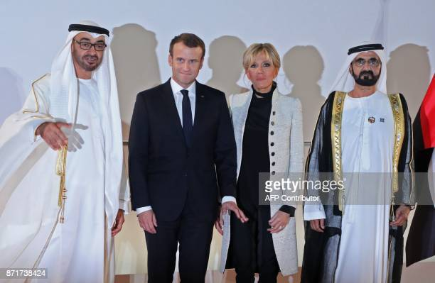 Abu Dhabi Crown Prince Mohammed bin Zayed AlNahyan French President Emmanuel Macron his wife Brigitte Macron and Ruler of Dubai Sheikh Mohammed bin...