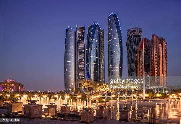 abu dhabi, etihad towers complex. - abu dhabi stock pictures, royalty-free photos & images
