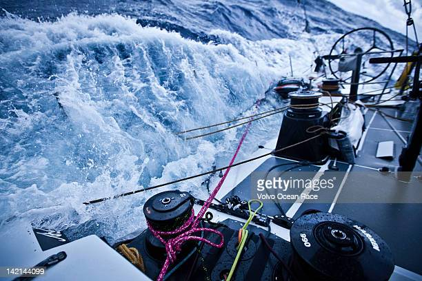 Abu Dhabi Ocean Racing 'hove to' for the repair work to the damaged hull in the middle of the Southern Ocean Abu Dhabi Ocean Racing during leg 5 of...
