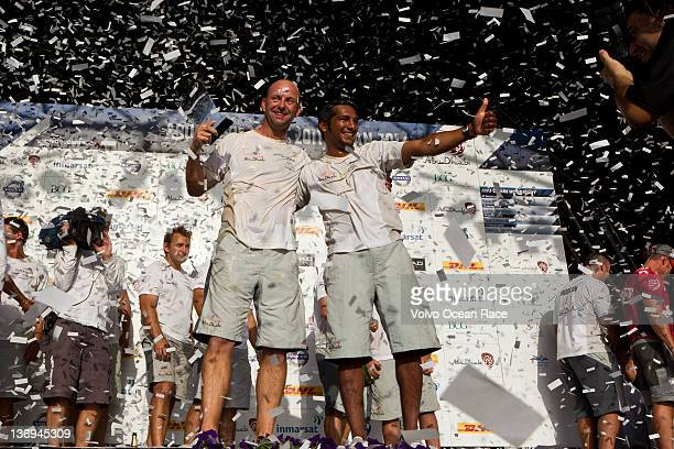 Abu Dhabi Ocean Racing skipper Ian Walker from the UK Adil Khalid from the UAE and crew celebrate after winning the Etihad Airways InPort Race ahead...