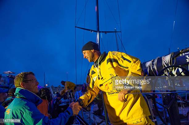 Abu Dhabi Ocean Racing skipper Ian Walker from the UK is greeted by Volvo Ocean Race CEO Knut Frostad after finishing leg 9 of the Volvo Ocean Race...