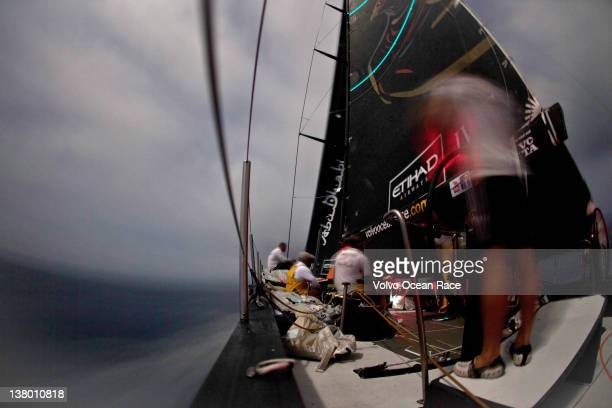 Abu Dhabi Ocean Racing skippered by Ian Walker from the UK pick up speed as they exit the Strait of Malacca during leg 3 of the Volvo Ocean Race...