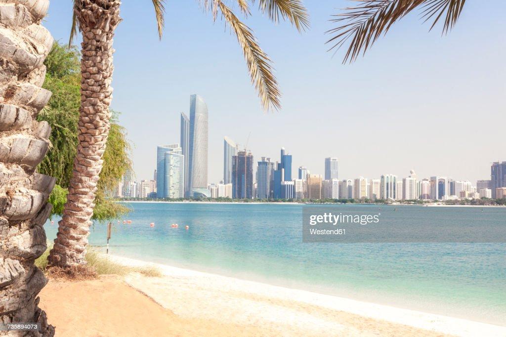 UAE, Abu Dhabi, palm, beach and skyline : Stock Photo
