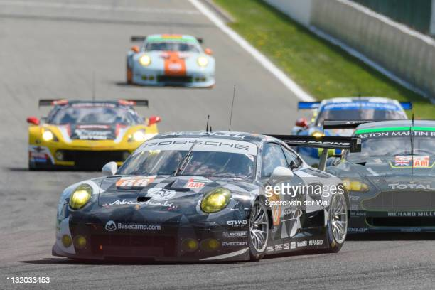 Abu Dhabi Proton Racing Porsche 911 RSR driven by Khaled AL QUBAISI, Riccardo PERA and Matteo CAIROLI leading a group of GT cars during the 6 Hours...