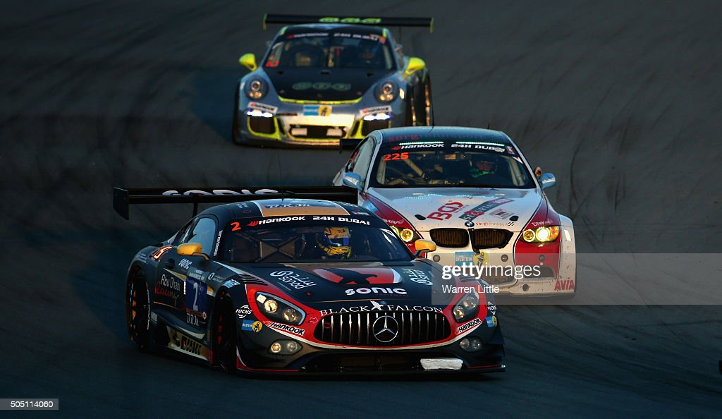 #2 Abu Dhabi Racing Black Falcon Mercedes AMG GT3 races during the Hankook 24 Hours Dubai Race in the International Endurance Series at Dubai Autodrome on January 15, 2015 in Dubai, United Arab Emirates.