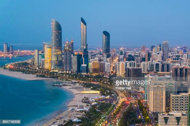 Abu Dhabi skyline at dusk, United Arab Emirates