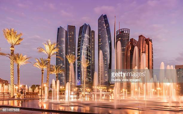 abu dhabi, the etihad towers. - abu dhabi stock pictures, royalty-free photos & images