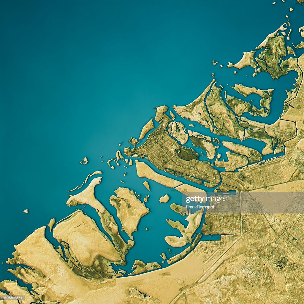 Abu Dhabi Topographic Map Natural Color Top View Stock Photo - Getty ...