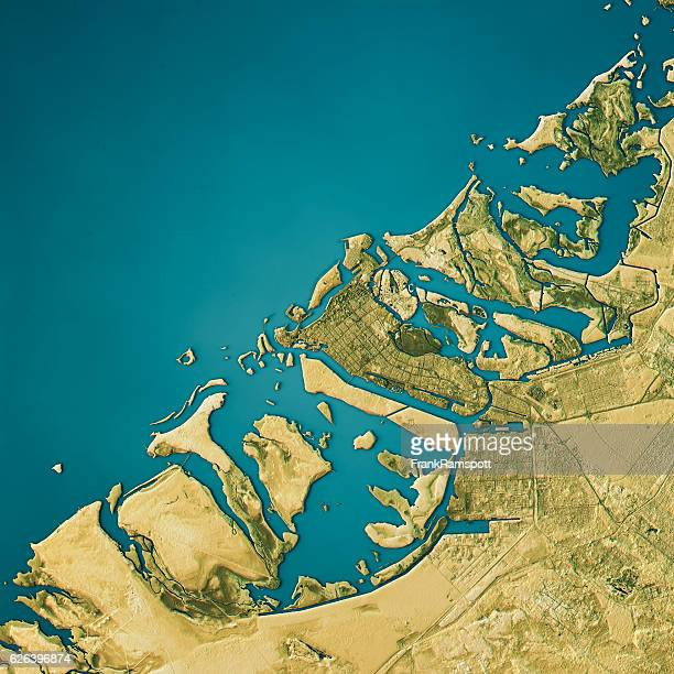 abu dhabi topographic map natural color top view - frankramspott stock-fotos und bilder