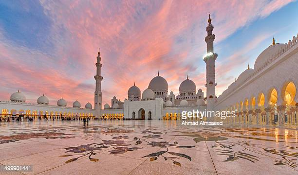 CONTENT] Abu Dhabi UAE Shiekh Zayed Mosque Blue Hour Canon Emirates Flame Sky Islam Space Light Minaret Capital Architecture Pink
