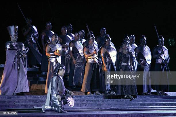 Artists perform a scene during the 'Aida' opera at the Emirates Palace in Abu Dhabi late 29 March 2007 AFP PHOTO/STR