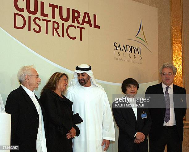 Crown Prince of Abu Dhabi Sheikh Mohammed bin Zayed alNahayan speaks with four of the world's most renowned architects Frank Gehry of USA Iraqiborn...