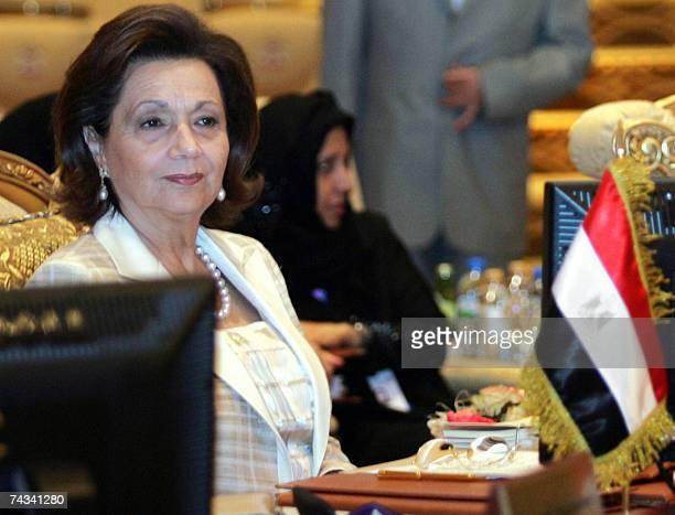 Abu Dhabi, UNITED ARAB EMIRATES: Egypt's First Lady Suzanne Mubarak attends the third meeting of Arab Women Organisation in Abu Dhabi, 27 May 2007....