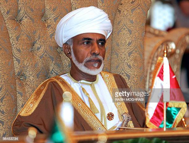 Abu Dhabi, UNITED ARAB EMIRATES: Sultan Qaboos of Oman attends the final session of the 26th annual summit of the Gulf Cooperation Council in Abu...