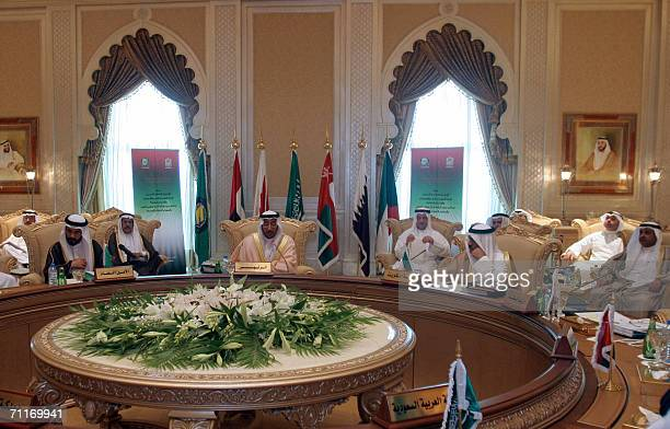 The six Gulf Cooperation Council finance ministers meet in Abu Dhabi 10 June 2006 The meeting focused on the economic integration of their countries...