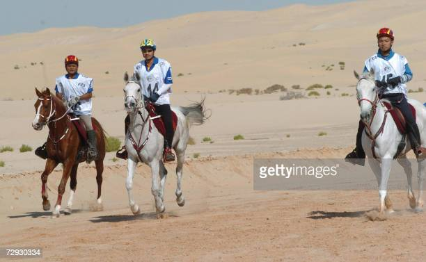 The thirteenth King of Malaysia Sultan Mizan Zainal Abidin takes part in an endurance equestrian race in Abu Dhabi 05 January 2007 Malaysia which has...