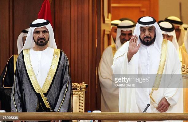 UAE President Sheikh Khalifa Bin Zayed AlNahyan and Crown Prince and Dubai ruler Sheikh Mohamed Bin Rashid AlMaktoum arrive for the inauguration of...