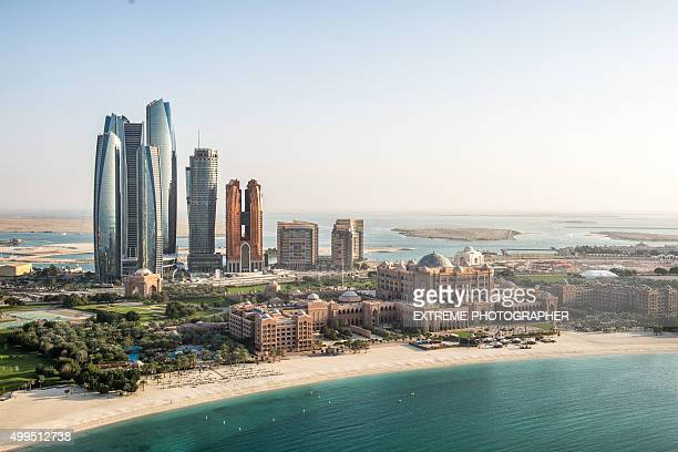 abu dhabi viewed from the air - abu dhabi stock pictures, royalty-free photos & images
