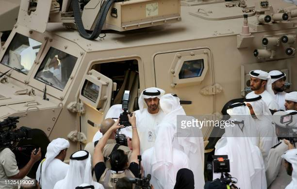 Abu Dhabi's Crown Prince Sheikh Mohamed bin Zayed AlNahyan and Deputy Supreme Commander of the UAE Armed Forces attends the opening of the...