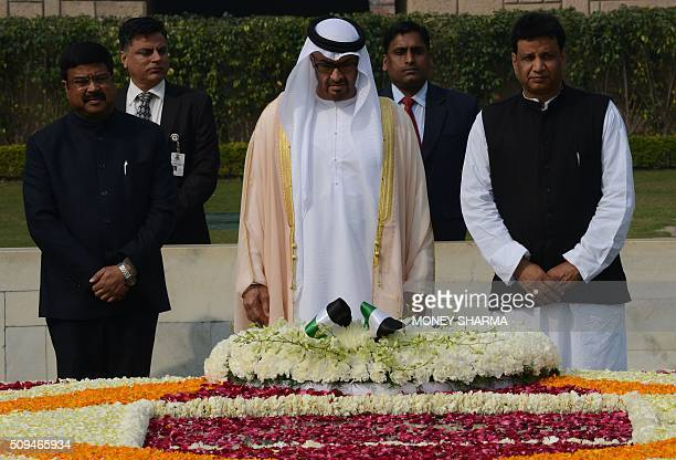 Abu Dhabi's Crown Prince Sheikh Mohammed bin Zayed alNahyan during a visit to Raj Ghat the memorial to the father of the Indian nation Mahatma Gandhi...