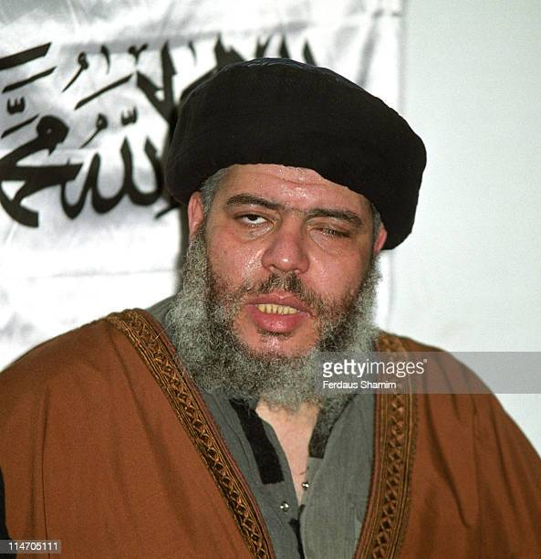 Abu Hamza during Abu Hamza Gives Reaction in Press Conference about 11th September at Finsbury Park Mosque in London Great Britain