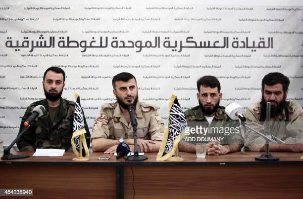 Abu Muhammad alFatih leader of Ajnad alSham Zahran Alloush the leader of Jaysh alIslam and military leader of the Islamic Front Abed alNaser Shmer...