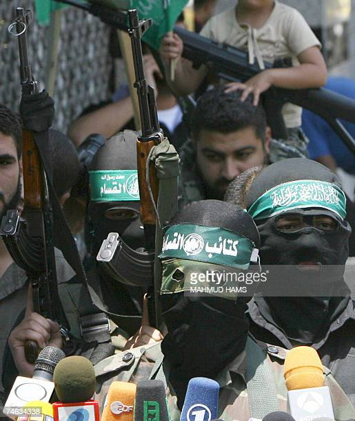 Abu Obeida a spokesman for Hamas's armed wing speaks to the press in Gaza City 15 June 2007 Hamas seized full control of the Gaza Strip early today...