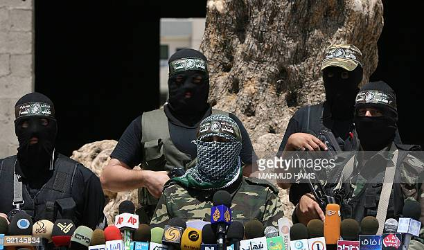 Abu Obeida a spokesman for Hamas's armed wing the Ezzedine AlQassam Brigades holds a press conference in Gaza City on May 31 2009 Six people were...