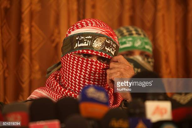 Abu Obeida the official spokesperson of the Palestinian militant group Ezzedine alQassam brigade the armed wing of Hamas give a press conference on...