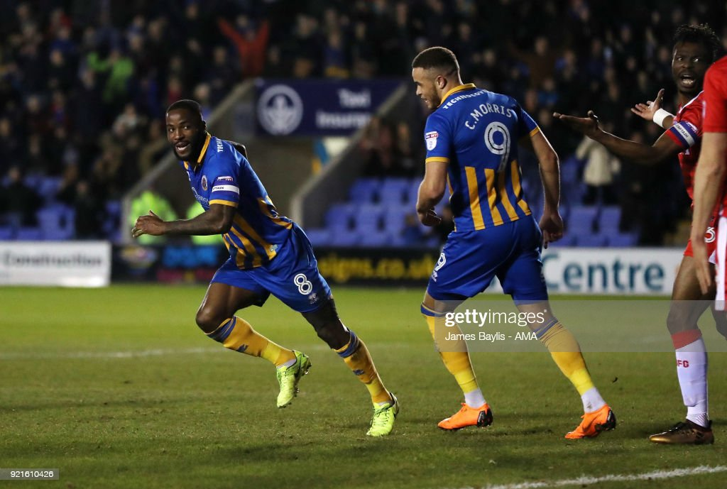 Abu Ogogo of Shrewsbury Town celebrates after scoring a goal to make it 1-0 during the Sky Bet League One match between Shrewsbury Town and Gillingham at New Meadow on February 20, 2018 in Shrewsbury, England.