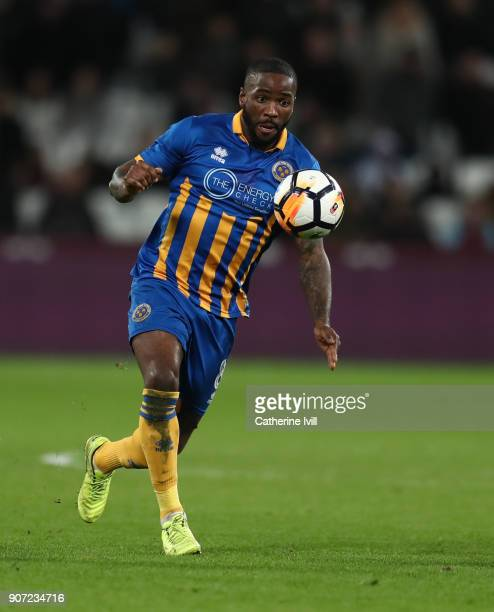Abu Ogogo of Shrewsbury Town during the Emirates FA Cup Third Round Replay match between West Ham United and Shrewsbury Town at London Stadium on...