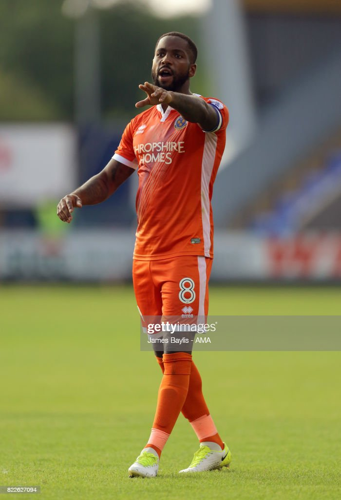 Abu Ogogo of Shrewsbury Town during the pre-season friendly between Shrewsbury Town and Cardiff City at The Montgomery Waters Meadow on July 25, 2017 in Shrewsbury, England.