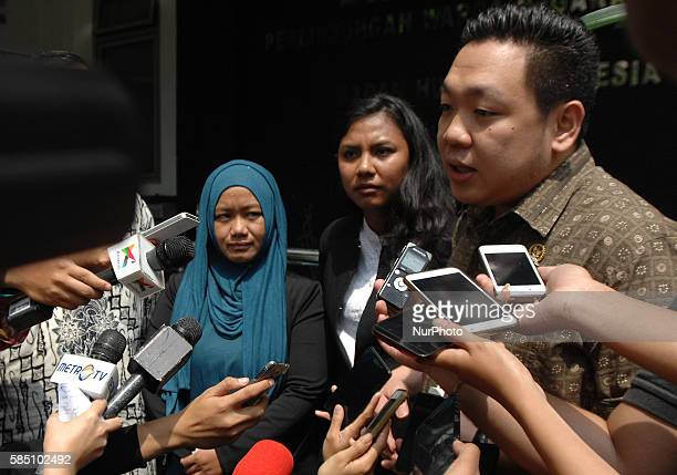 Abu Sayyaf hostage citizen wife Dian Megawati Ahmad after the meeting at the Ministry of Foreign Affairs Jakarta August 1 2016 The meeting is to...