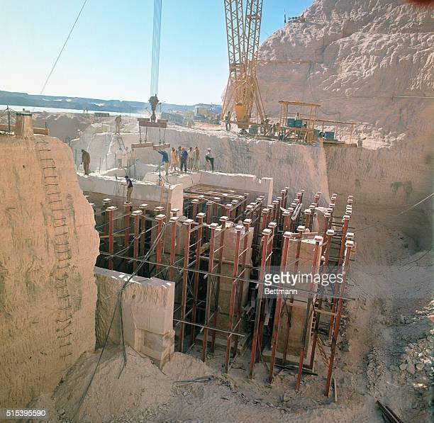 Abu Simbel UAR The dismantling of the Abu Simbel Temples Workmen are busy moving the giant pieces of sculpture of the famous temples The mammouth...