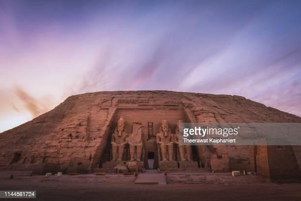 abu simble during sunset, aswan, egypt - abu simbel stock pictures, royalty-free photos & images